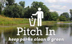 Pitch in, keep parks clean and green - text overlay on photo of park